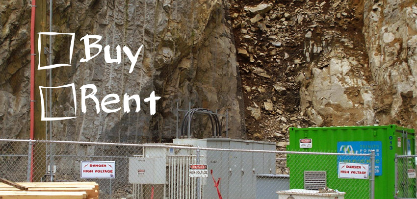 Electrical equipment near the rocks banner