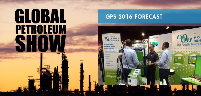 People talking at the event Global Petroleum Show