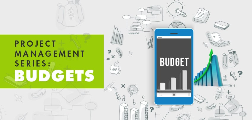 Project management and budgeting icons illustration