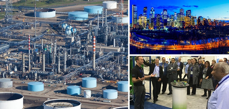 Oil refinery, the view over the city and people at the conference