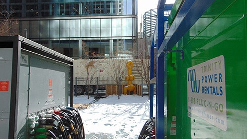 Temporary power equipment in a square downtown.