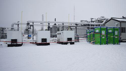Nat gas generators at refinery job site.